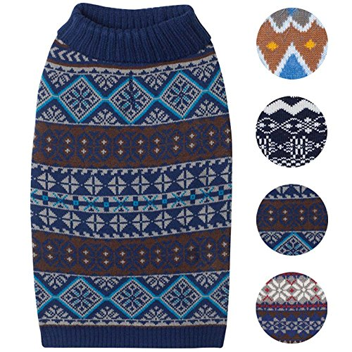 Snow Dog Sweater - Blueberry Pet 4 Patterns Fair Isle Style Yale Blue Snowflakes Pullover Dog Sweater, Back Length 10, Pack of 1 Clothes for Dogs