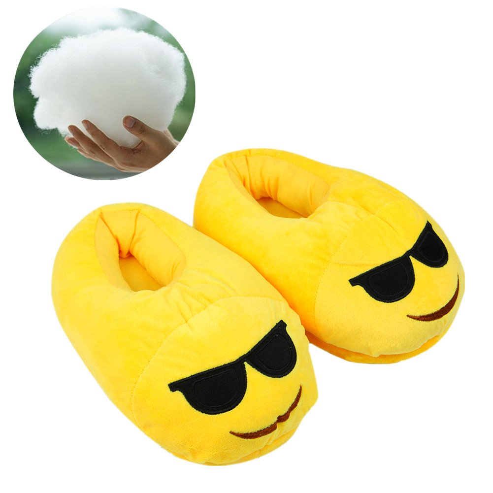 Emoji Slipper,Cozy Shoe— Plush Cotton Cute Cartoon Funny Soft Warm and Comfortable ,Indoor &Bedroom Slippers with Non-Skid Footpads for Kids,Teens,Girl & Women One Size Fits all (yellow+sunglass)