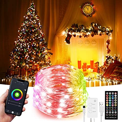 32.8ft LED Indoor String Lights, Fairy lighting, Music Sync Color Changing Dreamcolor, Kit with, Rainbow WiFi Wireless Smart Light Strip Works with Alexa Google Assistant App Control Room,Christmas