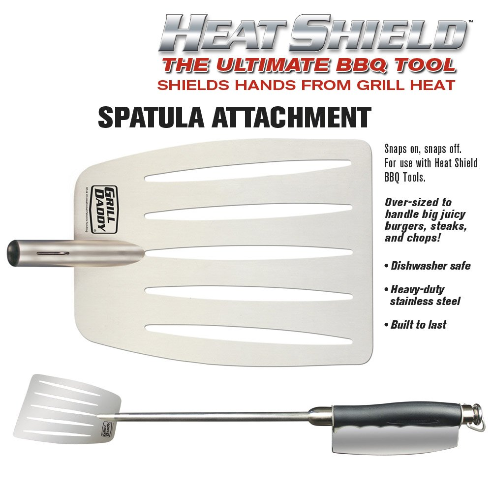Grill Daddy BBQ Tool Set with Heat Shield Hand Protection Premium 6-Piece Set Includes Spatula, Tongs, Meat Thermometer, Fork, Basting Brush, Fish Flipper Attachments Dishwasher Safe Stainless Steel