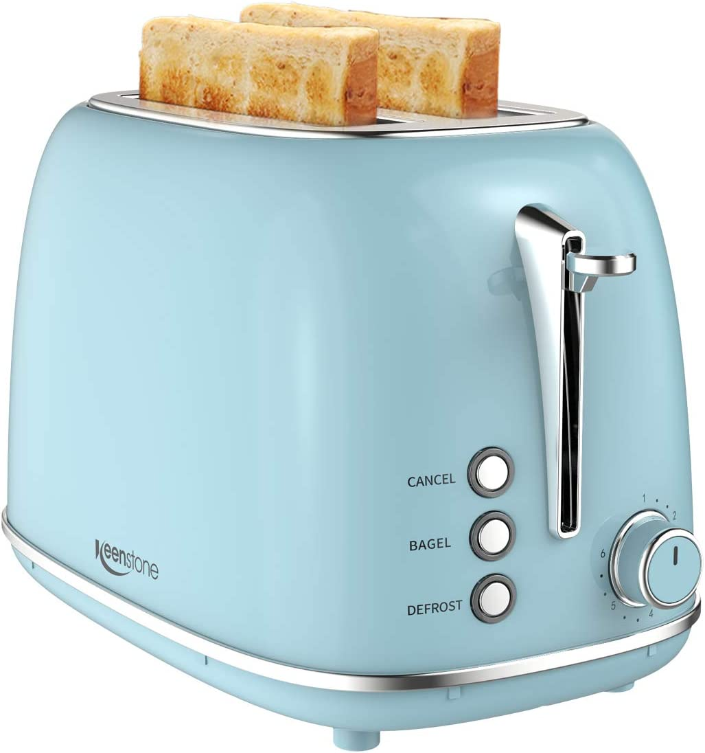 2 Slice Toaster Retro Stainless Steel Toaster with Bagel, Cancel, Defrost Function and 6 Bread Shade Settings Bread Toaster, Extra Wide Slot and Removable Crumb Tray, Blue