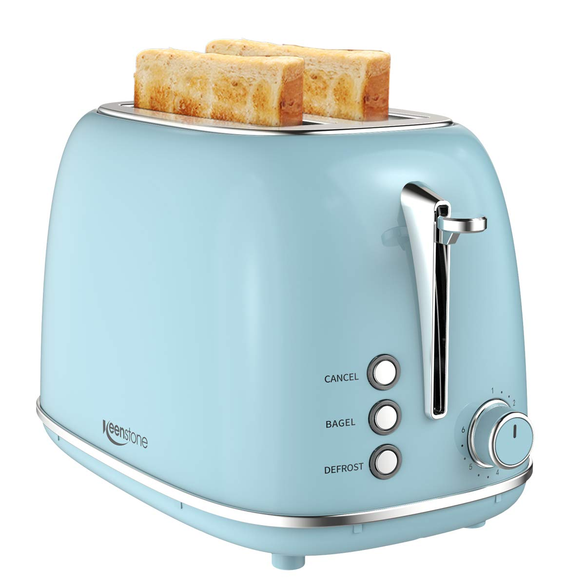 2 Slice Toaster Retro Stainless Steel Toaster with Bagel, Cancel, Defrost Function and 6 Bread Shade Settings Bread Toaster, Extra Wide Slot and Removable Crumb Tray, Blue by Keenstone