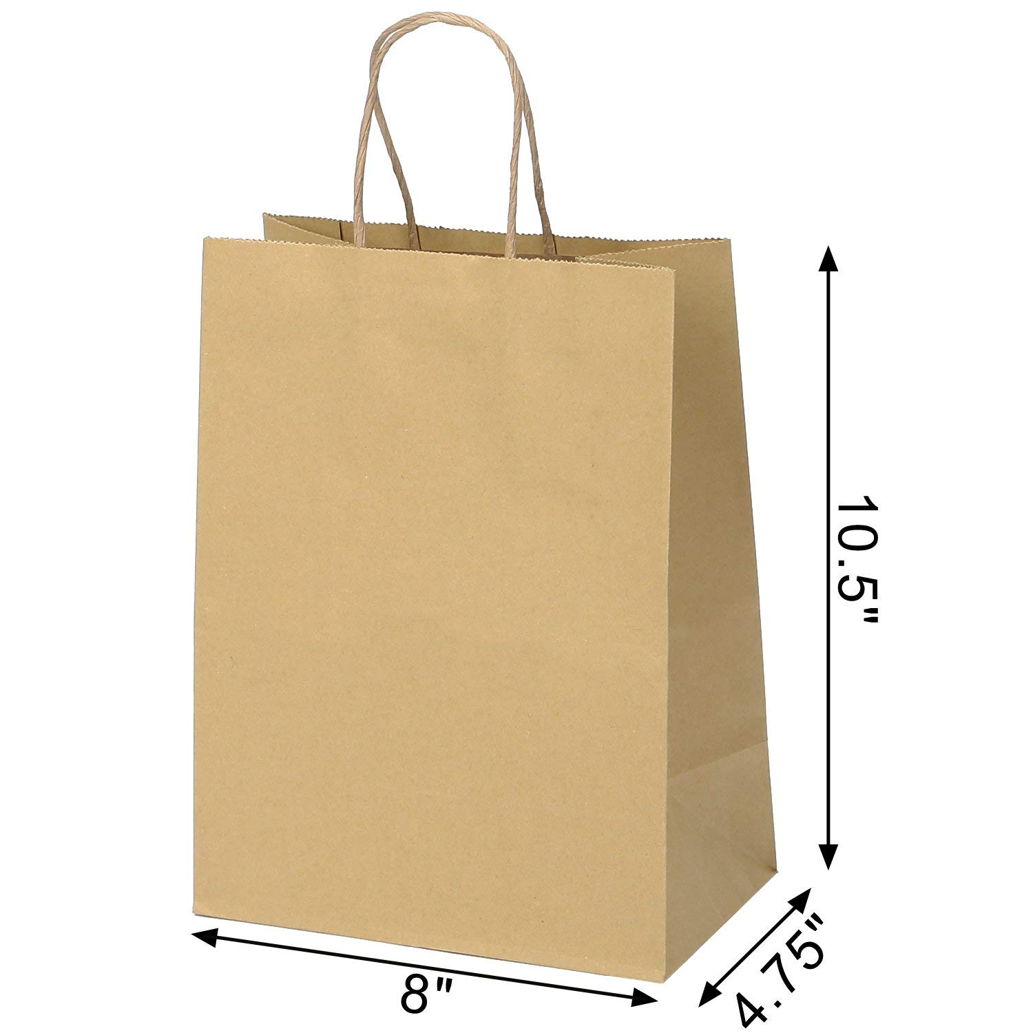 546905d884c ROAD 8x4.75x10.5 Inches 100pcs Assorted Kraft Paper Bags, Multi Color  Retail Paper Bags with Handles, Merchandise Bag, Gift Bag, Wedding Party  Bag: ...