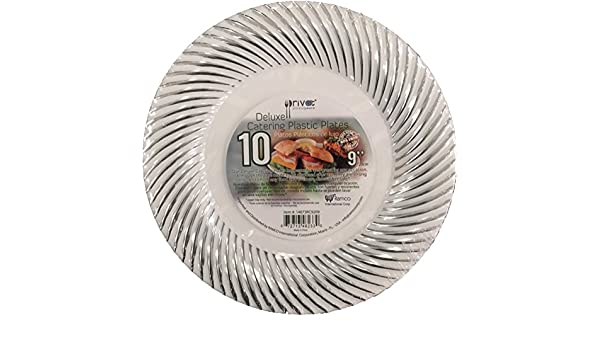 Amazon.com: DELUXE CATERING PLASTIC PLATES Hard White Plate with Seashell, 10 Pack, Beautiful and Great for any Occasion, Non Toxic, BPA Free (9 Inch): ...