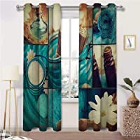 ThinkingPower Blackout Draperies Blue Themed Daisies Scents Towels and Incense Artwork...