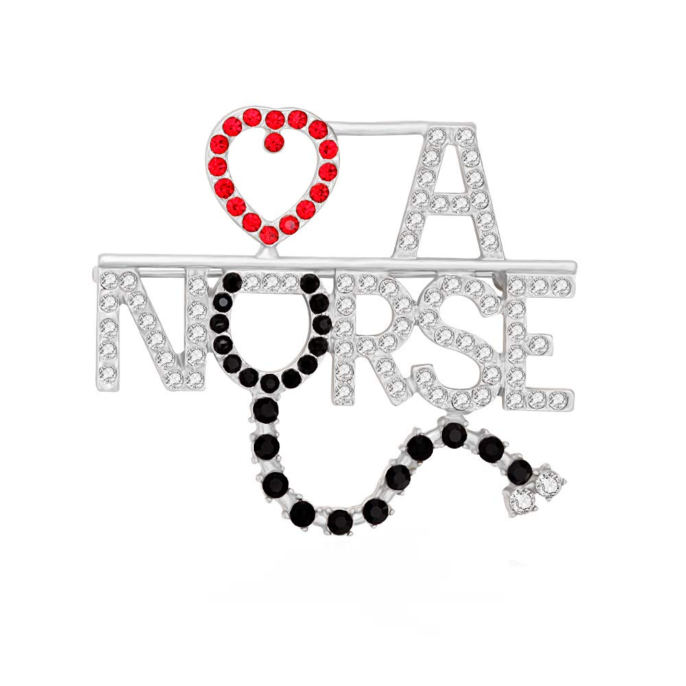 MANZHEN Rhinestone Love A NURSE Stethoscope Brooch Pins Nurse Medical Student Gifts (silver)
