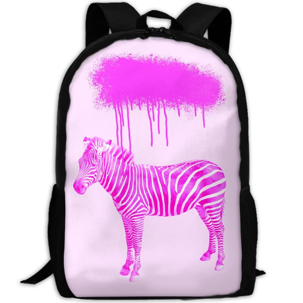 Markui Adult Travel Hiking Laptop Backpack Pink Zebra Painting School Multipurpose Durable Daypacks Zipper Bags Fashion
