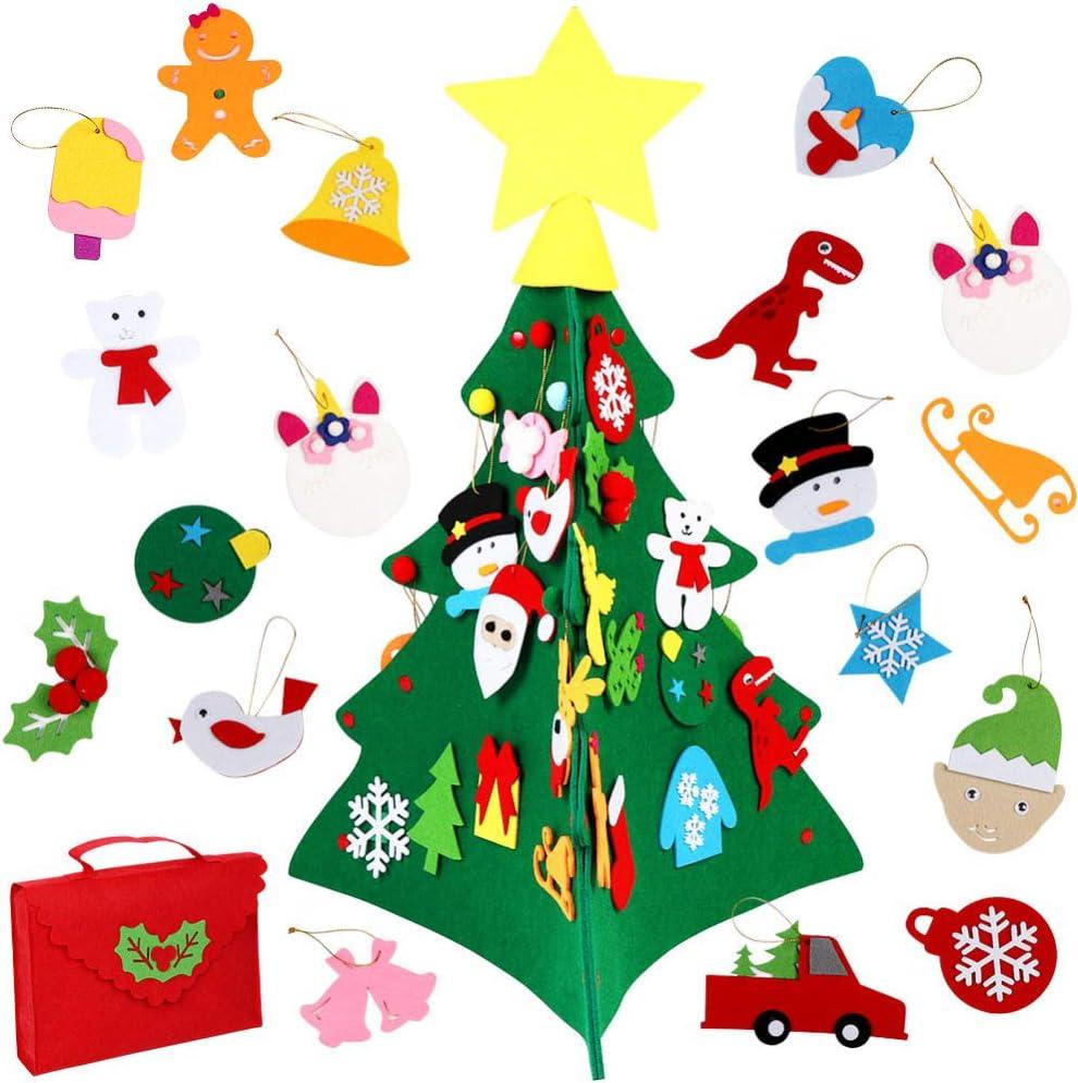 Fieltro Árbol de Navidad, 3D DIY Christmas Hanging Tree Set con 32 Piezas Adornos Árbol de Navidad para niños Decoración de la Pared de la Puerta del hogar