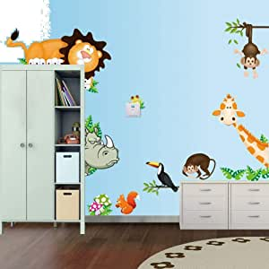 Diy Decorative Wall Stickers-cartoon Animals Home Decor