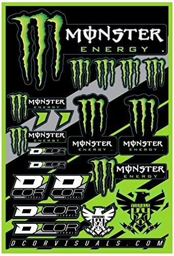 D'Cor Decal Sheet Monster Energy 12 x 18 Black Green