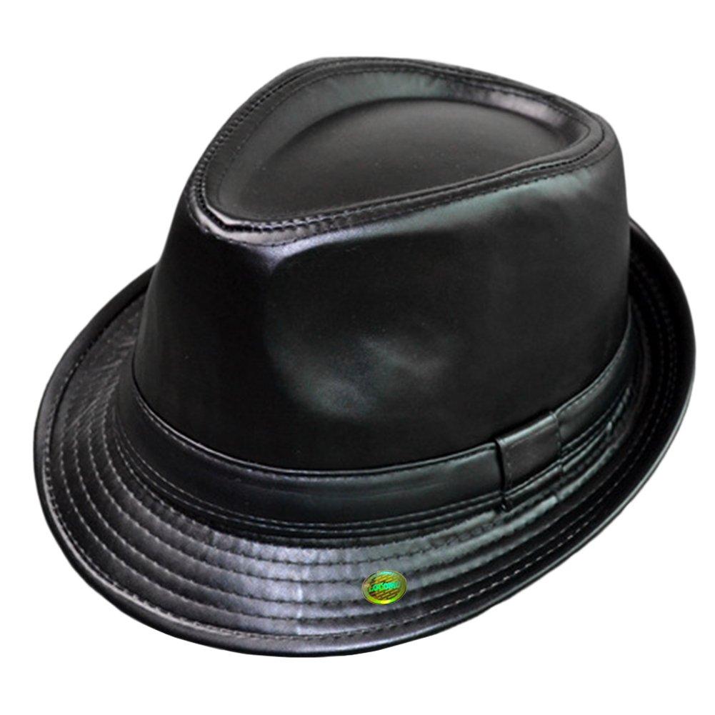 LOCOMO Plain Color PU Leather Fedora Short Upturn Brim Hat FFH345BLK