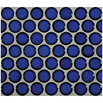 12x12 Cobalt Blue Porcelain Penny Round Glossy Look For Bathroom Floors And  Walls, Kitchen Backsplashes