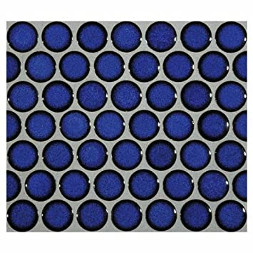 12x12 Cobalt Blue Porcelain Penny Round Glossy Look for Bathroom