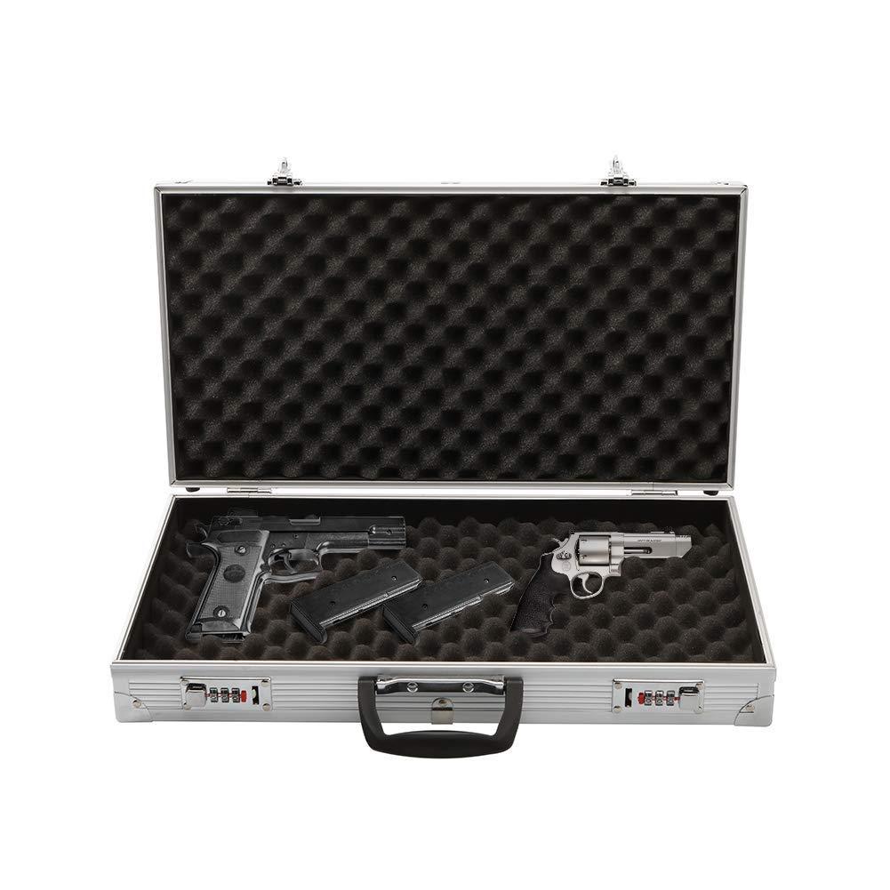 Aluminum Lock Box Pistol Case Handgun Foam Safe Carry Storage Hard Storage Carry Case,Silver