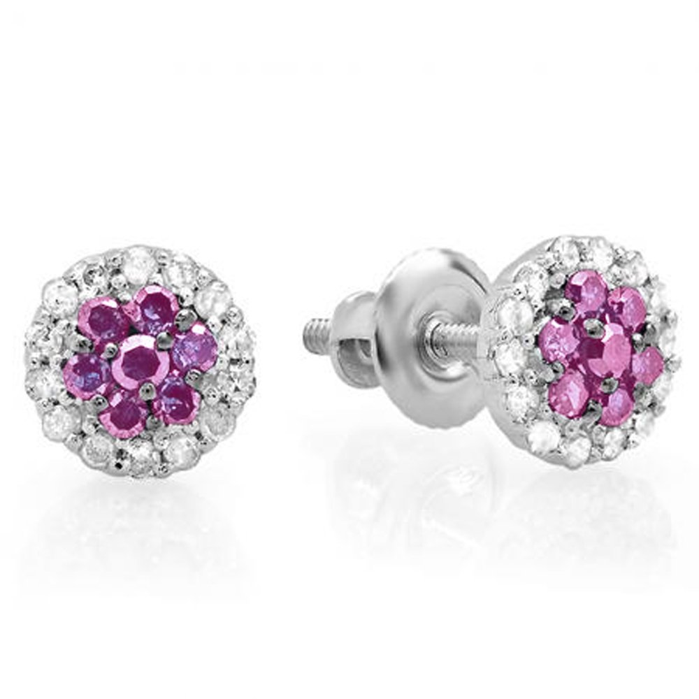 Dazzlingrock Collection 10K Ladies Cluster Flower Stud Earrings, White Gold