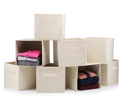 (8 PACK) Foldable storage boxes - Cube Basket storage bins - Beige collapsible  sc 1 st  Amazon.com & Amazon.com: (8 PACK) Foldable storage boxes - Cube Basket storage ...