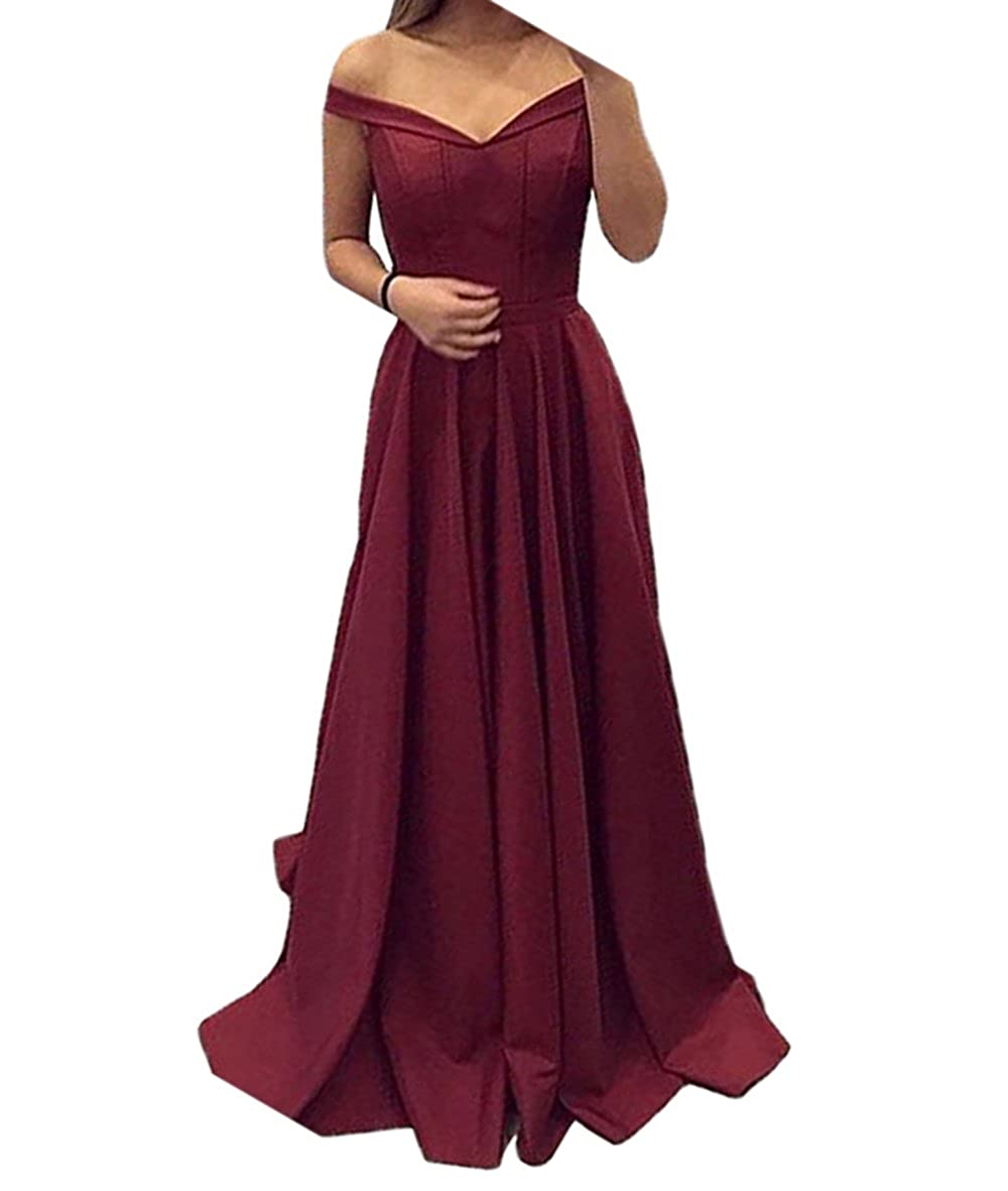 Burgundy alilith.Z Sexy Off The Shoulder Satin Prom Dresses A Line Long Formal Evening Dresses Party Gowns for Women