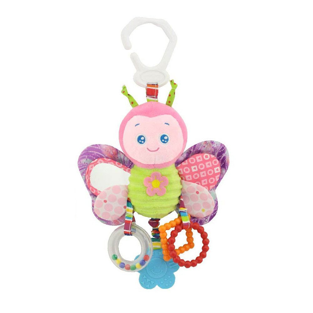 Rcool Baby Kid Stroller Hanging Bell Infant Animal Rattles Plush Doll Soft Comfort Toy Educational Puzzle Game Toy Gift (A) Rcool-Toy Animals