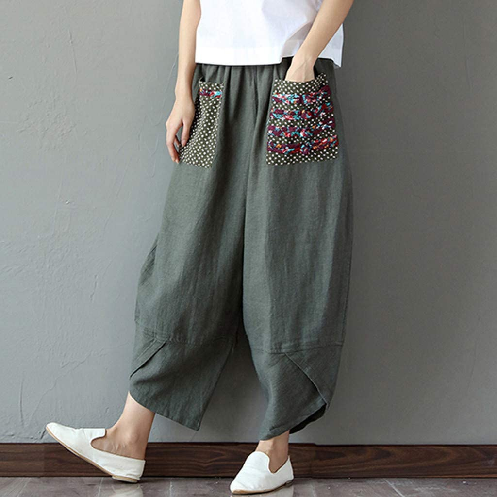 wodceeke Women Plus Size Shorts Solid Color Linen Elastic Waist Wide Leg Loose Pocket Pants with Drawstring