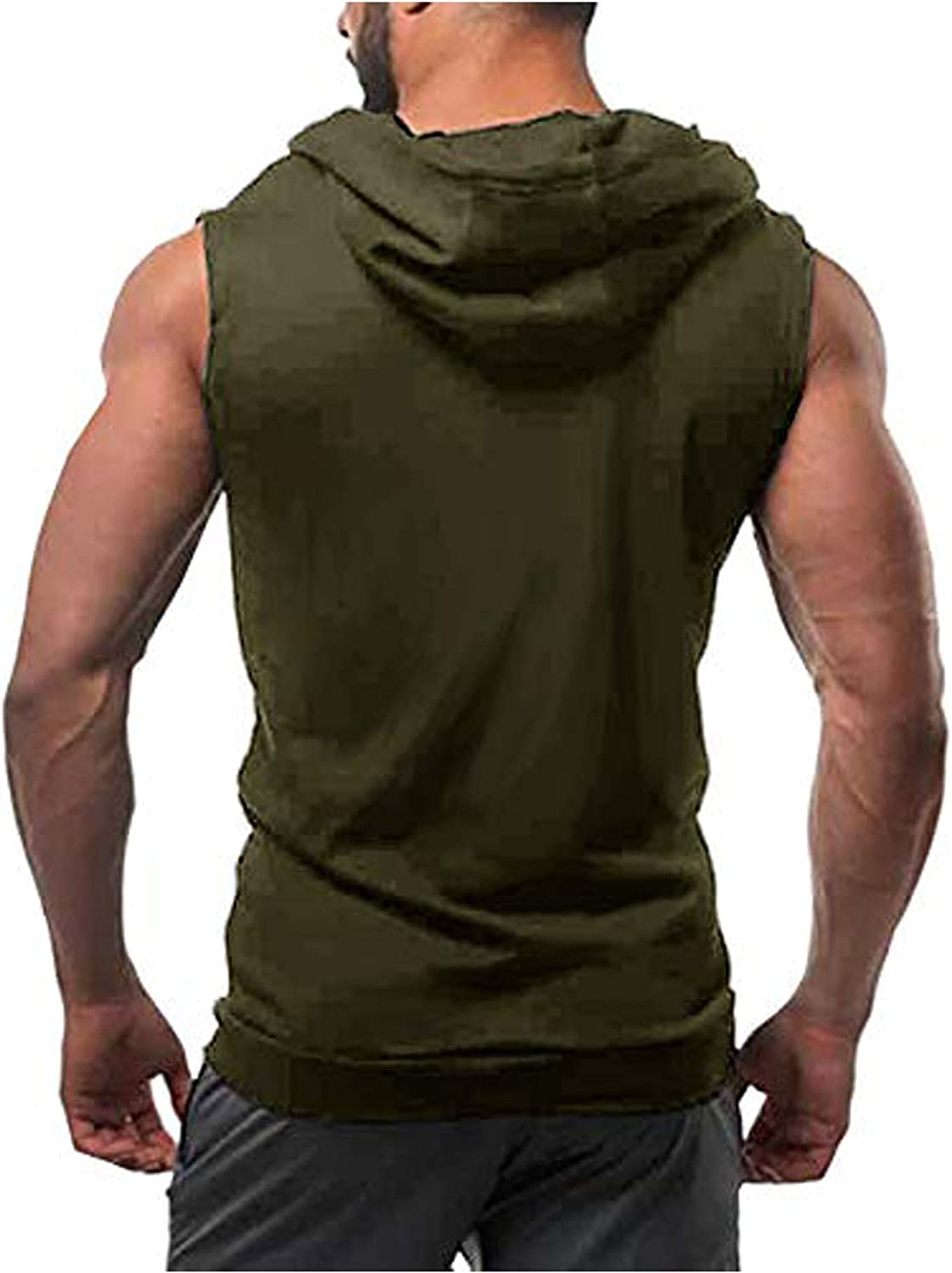 Coofandy Mens Tank Tops Shirts Workout Sports Hooded Vest Sleeveless Muscle Bodybuilding Gym Hoodie with Pocket Army Green, XXL