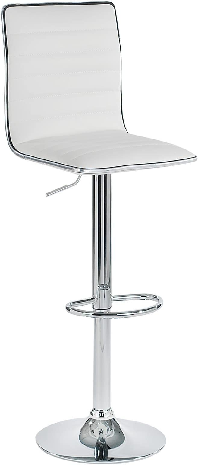 point-home 2er Set Barhocker Barstuhl Designstuhl Barsessel chrom//weiß Hochglanz