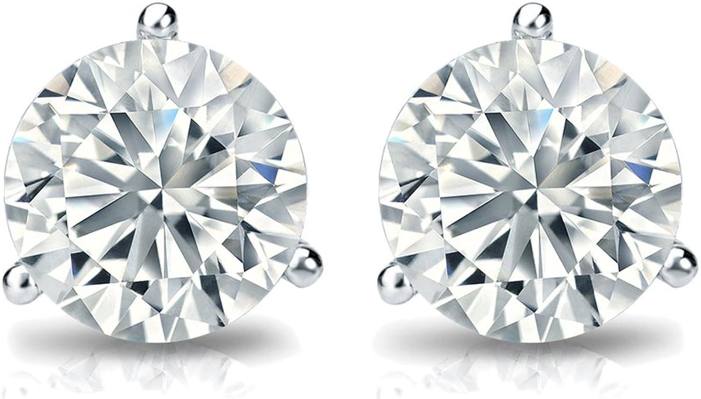 1//4-2 cttw,Excellent Quality 14k Gold-set Mens Round Diamond Simulant CZ Stud Earrings Bezel