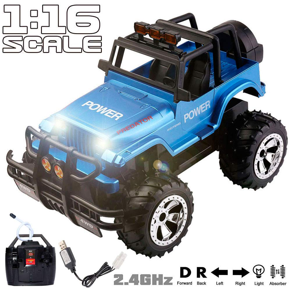 My First RC Big Foot Jeep Car for Boys Girls with Off Road Grip Tires Sounds Lights 1:16 Scale Radio Remote Control Big Buggy Crawler Hobby Car Truck RC Toy Cars for Kids Children