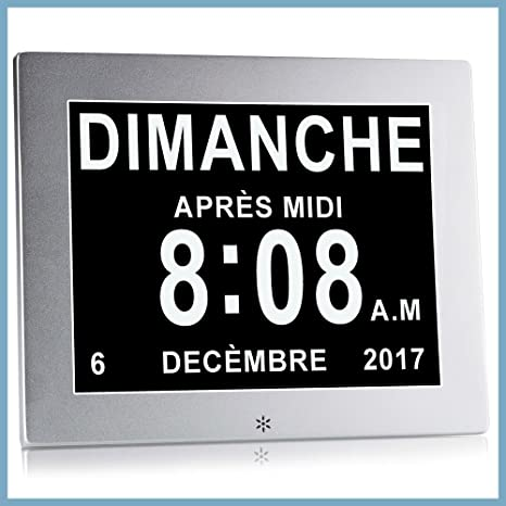 Dayclox international Reloj Calendario con Fecha, día y Hora   Reloj Alzheimer   Reloj para