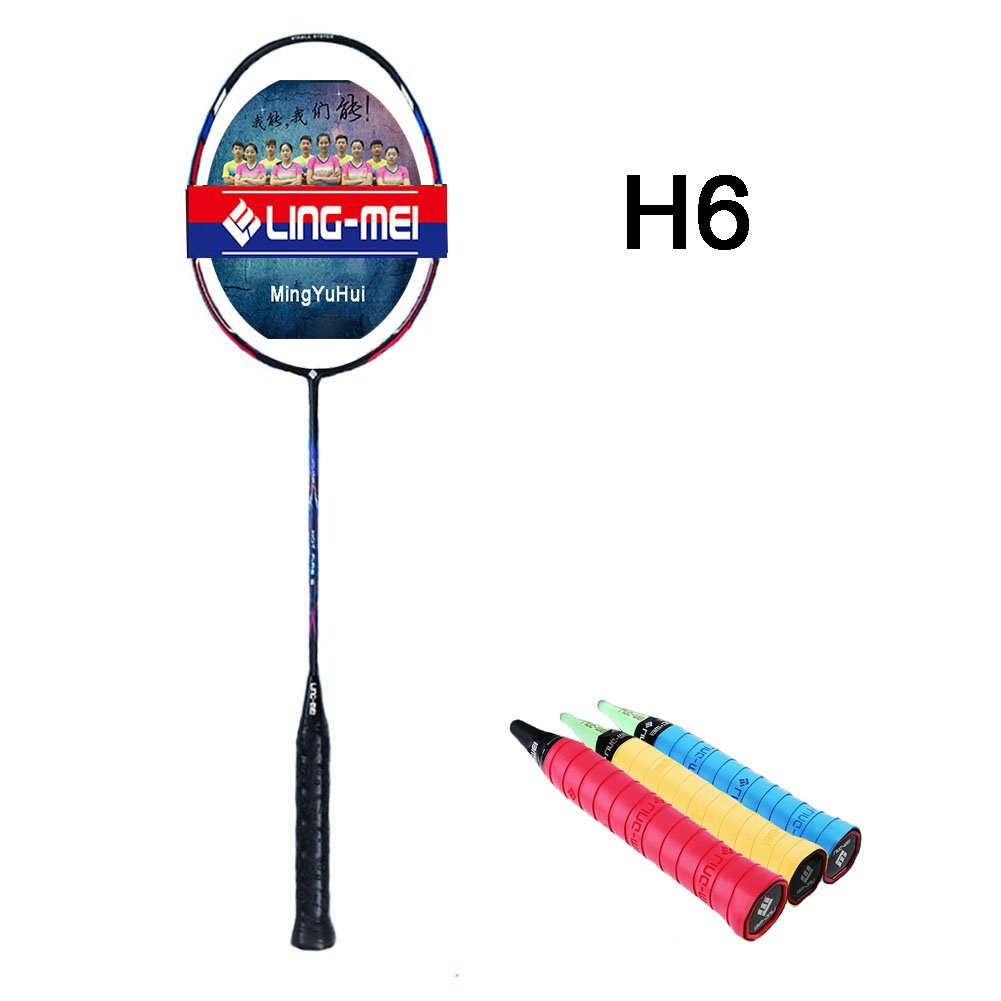 Ling Mei Badminton Racket - Professional Athletes Special High-strength Carbon Fiber Badminton Racket (single), Including Badminton Bag And 3 Rackets Anti-skid Tape. (H6, Red)