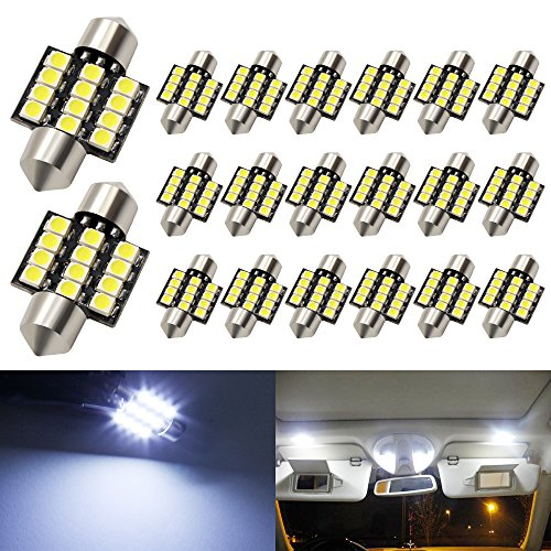Boodled C5w 31mm(1.25) LED Bulb 3528 12-SMD Chipsets Xenon White Festoon Interior Dome Map Trunk Cargo LED Bulbs Lights DE3175 DE3021 DE3022 3175,6000K~6500K,DC12V(Pack of 20)