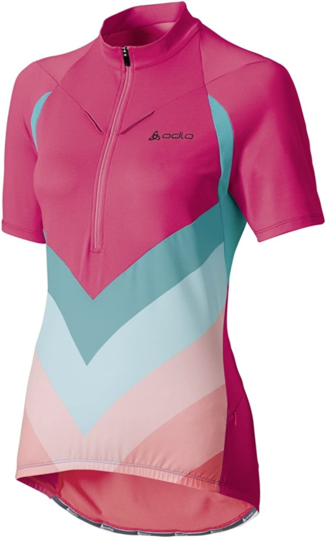 Odlo Damen Teamtrikot Radsport Stand-Up Collar Short Sleeve 1//2 Zip Nino