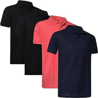 Real Essentials 4 Pack: Men's Regular-fit Cotton Pique Polo Shirt