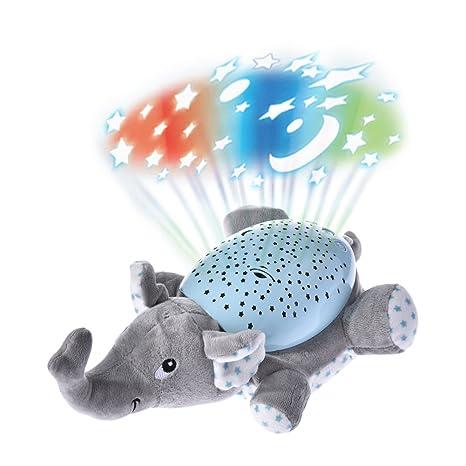 Musical Proyector, luerme de proyección Noche Luz Musical Juguete de peluche con 62 relajante canciones y hermosa luz elefante