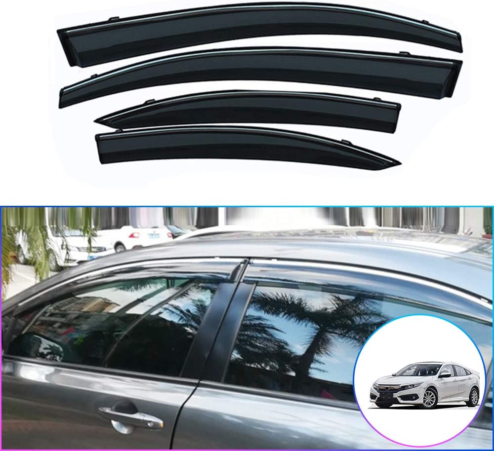 8th gen NOT in Channel rain Guards 4-Piece Set Car Styling Smoke Window Sun Rain Visor Deflector Guard for Honda Civic Sedan 2005-2011