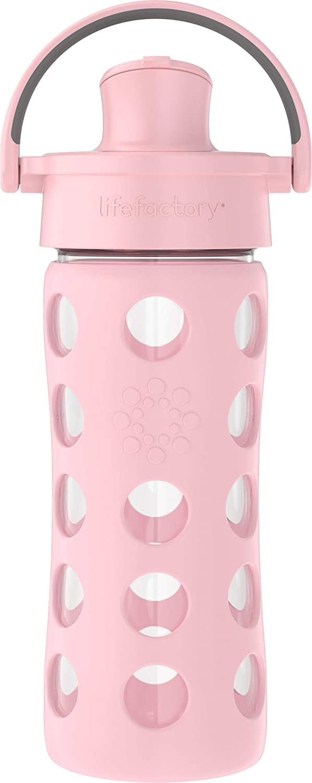 Lifefactory 12oz Active Flip Cap, Desert Rose Glass Water Bottle