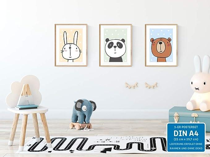 kizibi Lot de 3 Posters DIN A4 sans Cadre pour Chambre denfant et gar/çon
