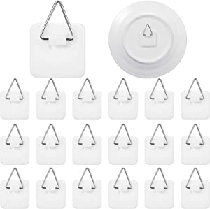 Sawysine 40 Pieces Invisible Adhesive Plate Hanger Vertical Plate Holders for Plate Pictures Wall Art Decor Supplies, 1.25 Inch