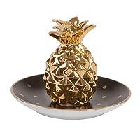 Black & Gold Polka Dot Pineapple Trinket Dish