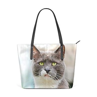 9e4ad1040a18 AyuStyle ネコ柄 猫の写真 ハンドバッグ ショルダーバッグ レディース カバン 斜めがけバッグ バッグ 手提げ