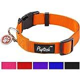 Basic Nylon Dog Collar Designer Solid Adjustable Puppy Pet Fancy Collars with ID Tag