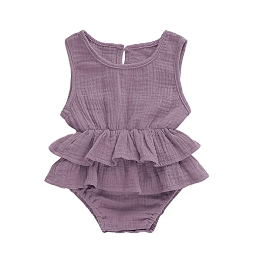 2111a4aadf939 Ritatte Newborn Baby Girl Romper Bodysuits Cotton Flutter Sleeve One-Piece  Romper Outfits Clothes (