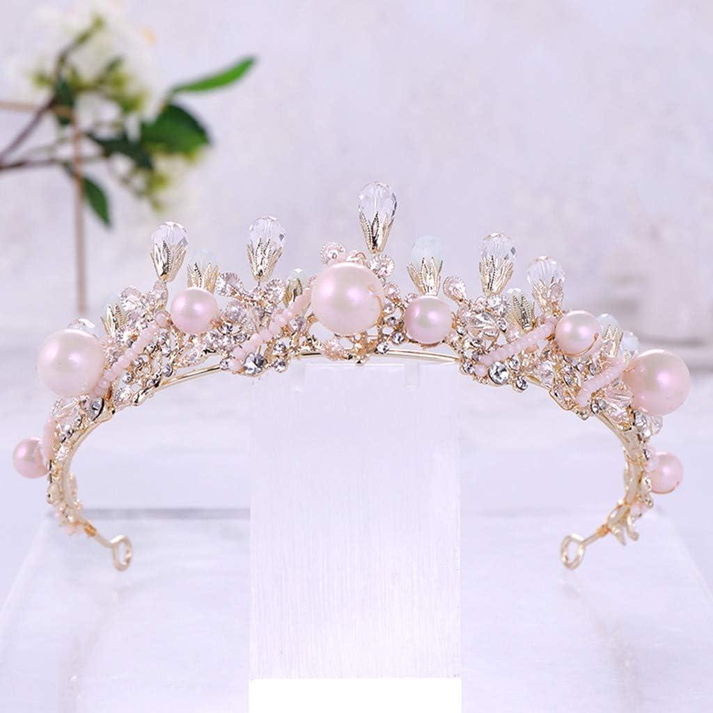 Muium Strass Luxe Couronne /éL/éGant Or Perle Bandeau Boucles DOreilles Bijoux Des Pour Mari/éE Mariage