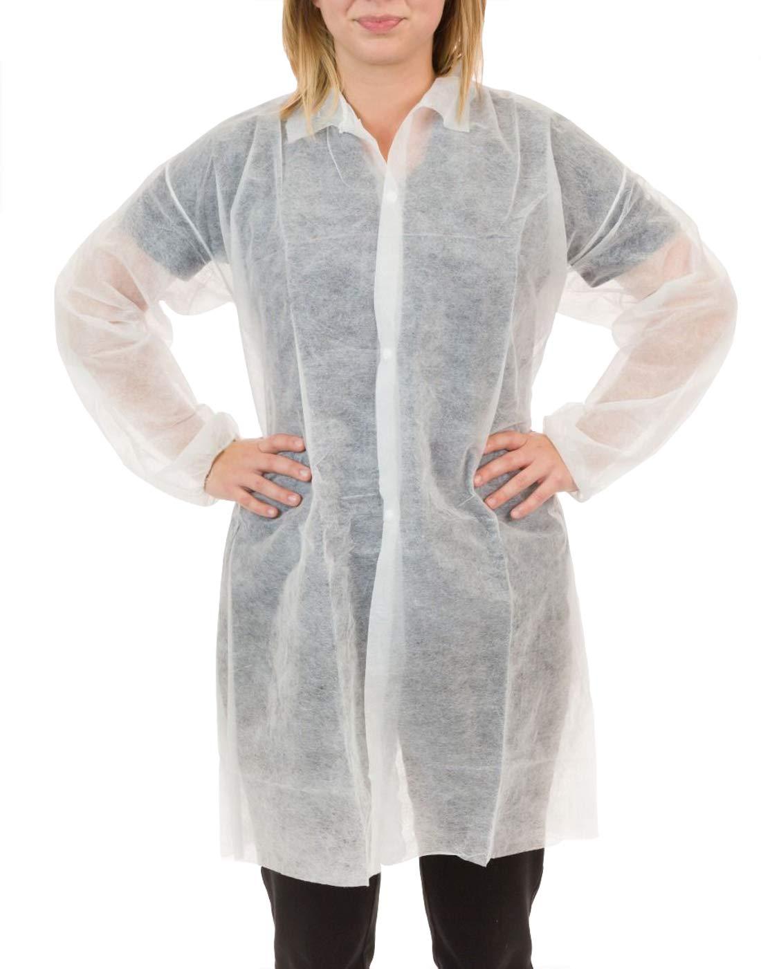 International EnviroGuard Lightweight Polypropylene Lab Coat, Front Snap Fasteners | Labs, Science, Medical, Biology, Dental (White, S, Case of 50)