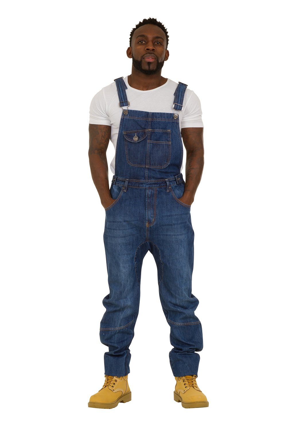 USKEES DANNY Mens Bib Overalls - Relaxed Fit - Darkwash Denim adjustable Loose