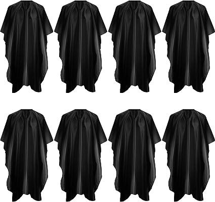 8 Piezas Capa de Peluquería Capa de Corte de Pelo Delantal de Cortar Pelo Capa de Peinado Impermeable con Gancho y Bucle para Peluqueros Salón, Negro