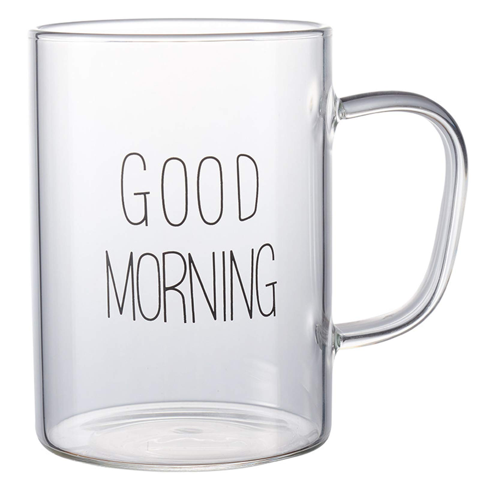 Homeyes 460 ML 15.5 OZ Good Morning Glass Cup For Coffee/Beer/Milk/Tea/Water