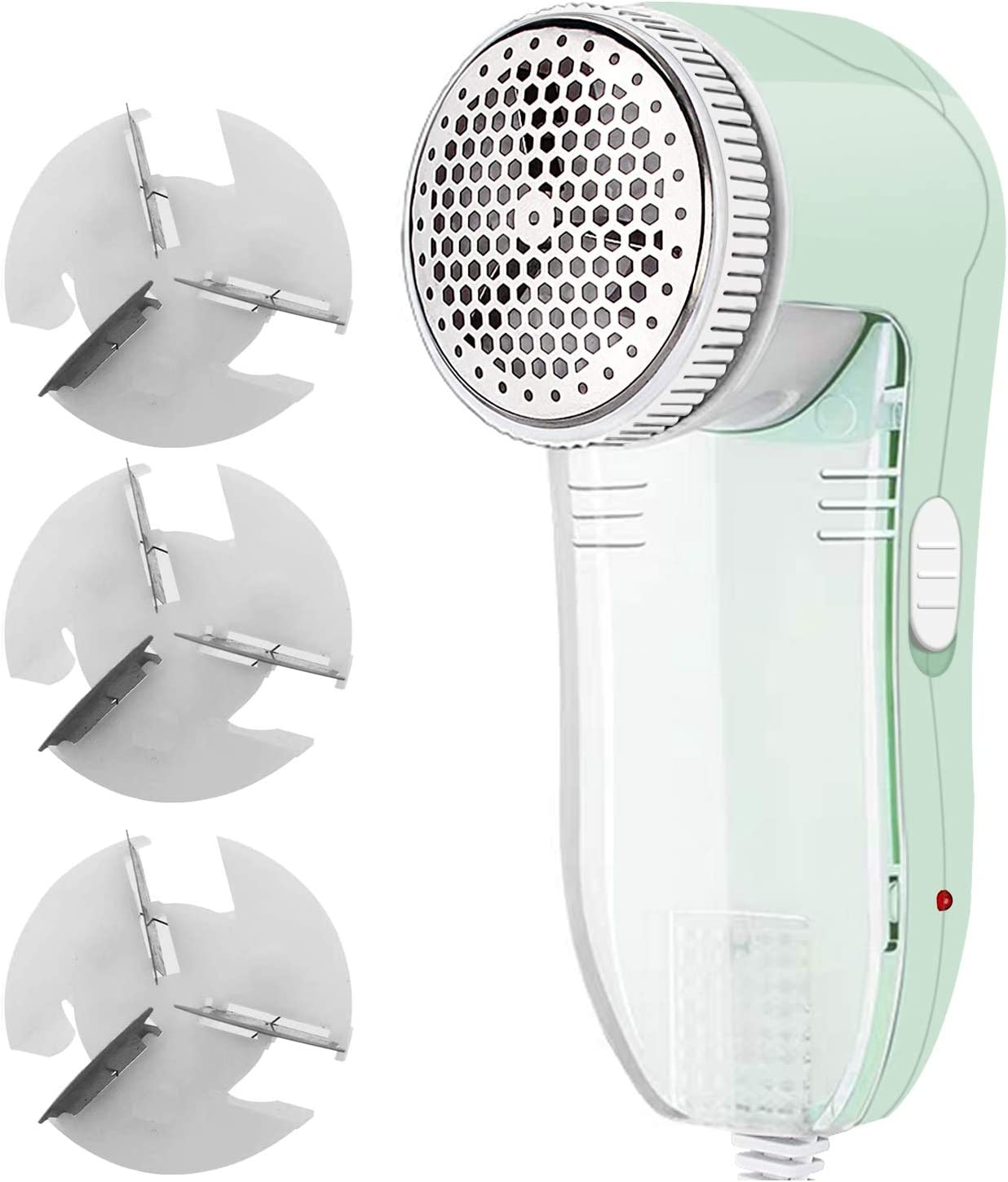 NEOYARDE Fabric Shaver, Fuzz Balls Pills Bobbles Lint Remover Defuzzer with 3 Replaceable 3-Leaf Stainless Steel Blades, AC120V Plug and Play