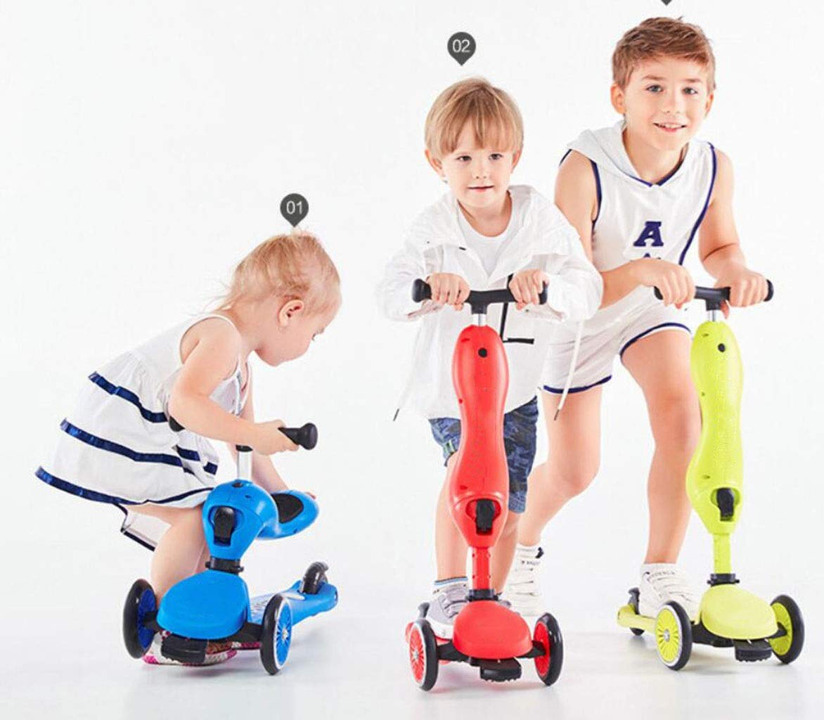 Children's scooter kick scooter children's children 4 wheel scooter, 2 in 1 super wide wheel kids scooter balance car / slide car, one button conversion adjustable height handle, scooter children boys by JBHURF (Image #5)