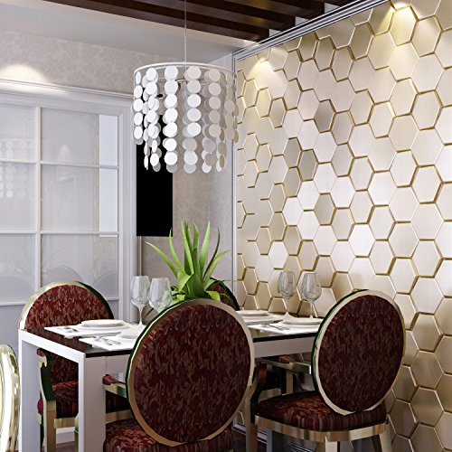 Art3d Peel And Stick Faux Leather Tile 3d Hexagon Gold
