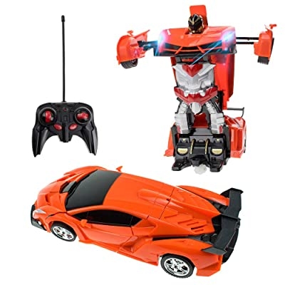 Totola Remote Control Transform Robot Kids Toys, Electronic RC Robot Deformation Car Vehicle Model Toy with One Button Transformation for Children, Boys & Girls, All Ages (Orange): Toys & Games